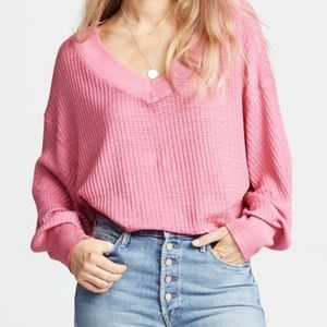 Free People Pink South Side Thermal Top